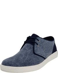 dunkelblaue Segeltuch niedrige Sneakers von Veganino