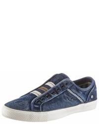 dunkelblaue Segeltuch niedrige Sneakers von Wrangler