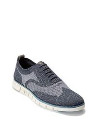 dunkelblaue Segeltuch Oxford Schuhe