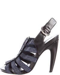 dunkelblaue Segeltuch Sandaletten