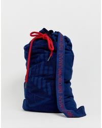dunkelblaue Segeltuch Sporttasche von Emporio Armani