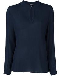 dunkelblaue Seide Bluse von A.P.C.