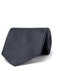 dunkelblaue Seidekrawatte von Alexander McQueen
