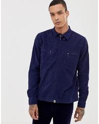 dunkelblaue Shirtjacke aus Cord von Pretty Green