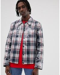 dunkelblaue Shirtjacke mit Karomuster von ASOS DESIGN