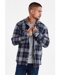 dunkelblaue Shirtjacke mit Schottenmuster von BLEND