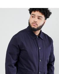 dunkelblaue Shirtjacke von ASOS DESIGN