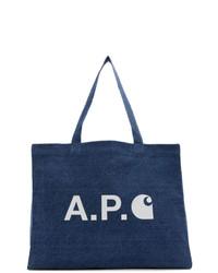dunkelblaue Shopper Tasche aus Jeans von A.P.C.