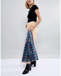 dunkelblaue Shopper Tasche aus Leder mit Schottenmuster von ASOS DESIGN