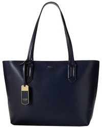 dunkelblaue Shopper Tasche aus Leder