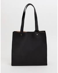 dunkelblaue Shopper Tasche aus Leder von ASOS DESIGN