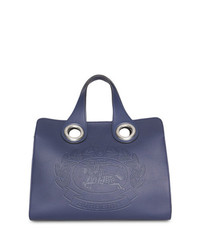 dunkelblaue Shopper Tasche aus Leder von Burberry