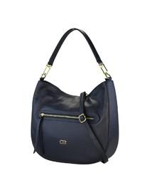 dunkelblaue Shopper Tasche aus Leder von COLLEZIONE ALESSANDRO