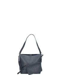 dunkelblaue Shopper Tasche aus Leder von Esprit