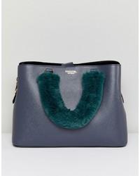 dunkelblaue Shopper Tasche aus Leder von Essentiel Antwerp