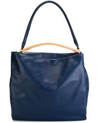 dunkelblaue Shopper Tasche aus Leder von Maison Margiela