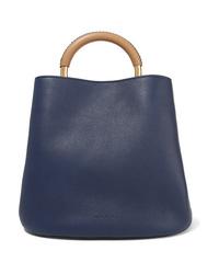 dunkelblaue Shopper Tasche aus Leder von Marni