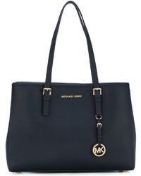 dunkelblaue Shopper Tasche aus Leder von Michael Kors