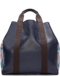 dunkelblaue Shopper Tasche aus Leder von Paul Smith
