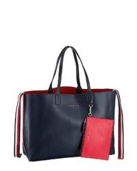 dunkelblaue Shopper Tasche aus Leder von Tommy Hilfiger