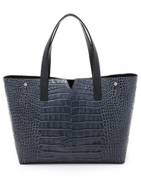 dunkelblaue Shopper Tasche aus Leder von Vince
