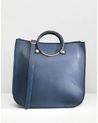 dunkelblaue Shopper Tasche aus Leder von Yoki Fashion