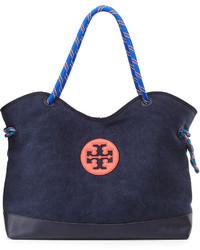 dunkelblaue Shopper Tasche aus Segeltuch