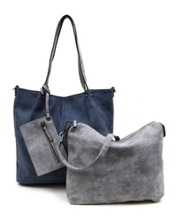 dunkelblaue Shopper Tasche aus Segeltuch von EMILY & NOAH