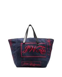 dunkelblaue Shopper Tasche aus Segeltuch von JW Anderson