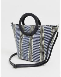 dunkelblaue Shopper Tasche aus Segeltuch von New Look