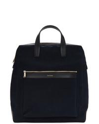 dunkelblaue Shopper Tasche aus Segeltuch von Paul Smith
