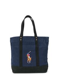 dunkelblaue Shopper Tasche aus Segeltuch von Polo Ralph Lauren