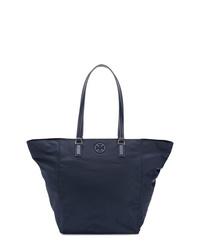 dunkelblaue Shopper Tasche aus Segeltuch von Tory Burch