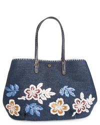 dunkelblaue Shopper Tasche aus Stroh