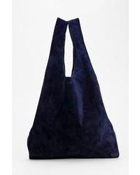 dunkelblaue Shopper Tasche aus Wildleder