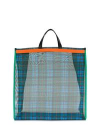 dunkelblaue Shopper Tasche mit Schottenmuster von P.A.R.O.S.H.