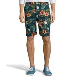 dunkelblaue Shorts mit Blumenmuster