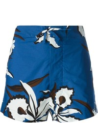dunkelblaue Shorts mit Blumenmuster von Marni
