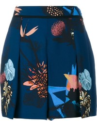 dunkelblaue Shorts mit Blumenmuster von Proenza Schouler