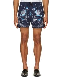 dunkelblaue Shorts mit Paisley-Muster von Alexander McQueen