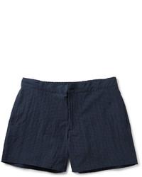 dunkelblaue Shorts mit Schottenmuster