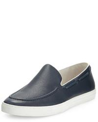 dunkelblaue Slip-On Sneakers aus Leder