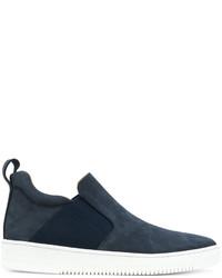 dunkelblaue Slip-On Sneakers aus Leder von Eleventy