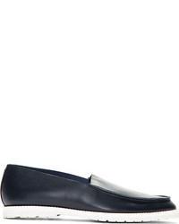 dunkelblaue Slip-On Sneakers aus Leder von Maison Martin Margiela