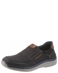 dunkelblaue Slip-On Sneakers aus Leder von Rieker