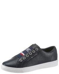 dunkelblaue Slip-On Sneakers aus Leder von Tommy Hilfiger