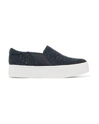 dunkelblaue Slip-On Sneakers aus Leder von Vince