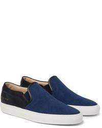 dunkelblaue Slip-On Sneakers aus Segeltuch