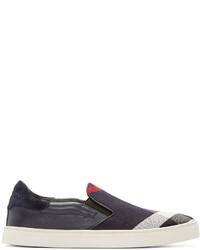 dunkelblaue Slip-On Sneakers aus Segeltuch von Burberry