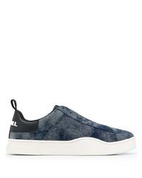 dunkelblaue Slip-On Sneakers aus Segeltuch von Diesel